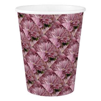 ピンクのストライプのな花 紙コップ