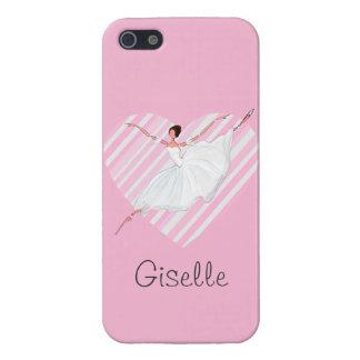 ピンクのストライプのバレリーナの踊り- Castomizable iPhone 5 カバー
