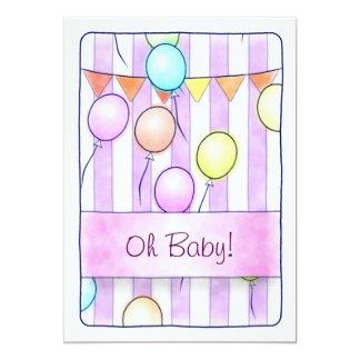 ピンクのストライプのベビーシャワーの気球 カード