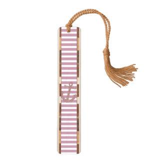 ピンクのストライプの模造のなグリッターのいかり ブックマーク