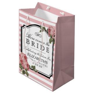 ピンクのストライプの花のブライダルシャワーは色をカスタマイズ ミディアムペーパーバッグ