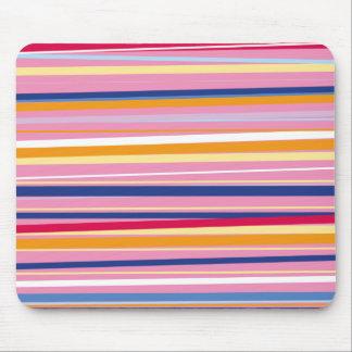 ピンクのストライプの青いオレンジ マウスパッド