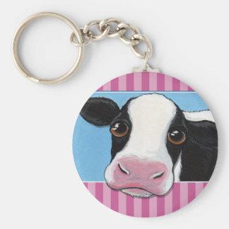 ピンクのストライプを持つかわいくお洒落で黒く及び白い牛 キーホルダー