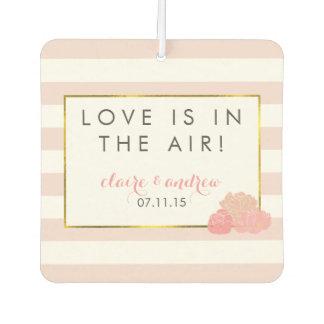 ピンクのストライプ及びシャクヤクの結婚式の引き出物の芳香剤 カーエアーフレッシュナー