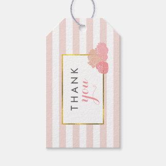 ピンクのストライプ及び赤面のシャクヤクのブライダルシャワーのメッセージカード ギフトタグ