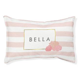 ピンクのストライプ及び赤面のシャクヤク名前入りな犬のベッド スモールドッグベッド