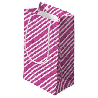 ピンクのストライプ-パーティーの供給 スモールペーパーバッグ