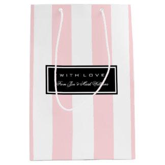 ピンクのストライプ ミディアムペーパーバッグ