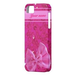 ピンクのスパンコールおよび弓iphone5場合 iPhone SE/5/5s ケース