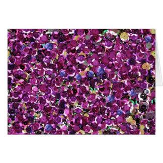 ピンクのスパンコールの輝きのグリッター カード