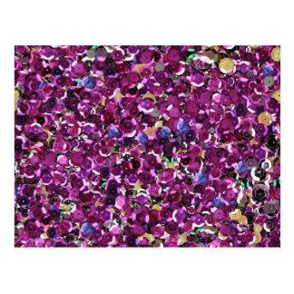 ピンクのスパンコールの輝きのグリッター ポストカード