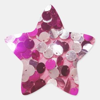 ピンクのスパンコールの輝きのファッションは文字とカスタマイズ 星シール