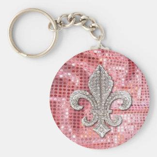 ピンクのスパンコールの輝きの宝石の(紋章の)フラ・ダ・リのヴィンテージ キーホルダー