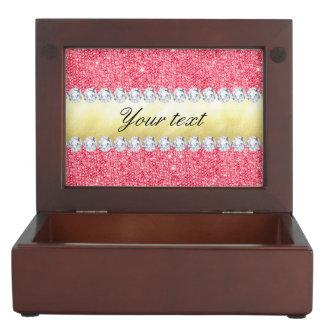 ピンクのスパンコールの金ゴールドのホイルおよびダイヤモンド ジュエリーボックス