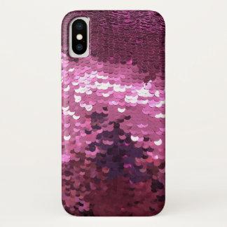 ピンクのスパンコール iPhone X ケース