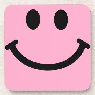 ピンクのスマイリーフェイスの正方形のコースター コースター