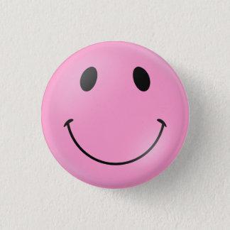 ピンクのスマイリーフェイス 3.2CM 丸型バッジ