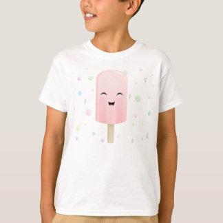 ピンクのスマイルのアイスキャンデー Tシャツ
