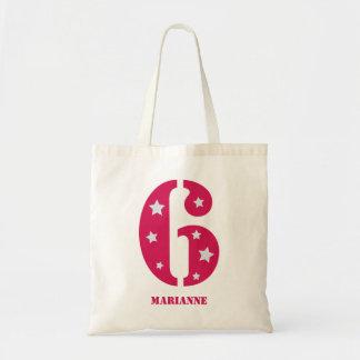 ピンクのスーパースター6つの誕生日のバッグ トートバッグ