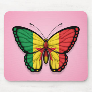 ピンクのセネガルの蝶旗 マウスパッド