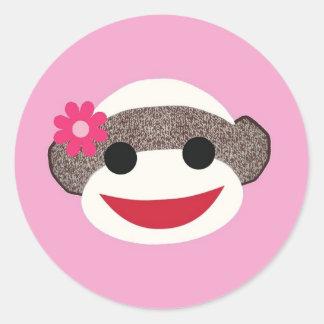 ピンクのソックス猿のフラワー・ガール ラウンドシール