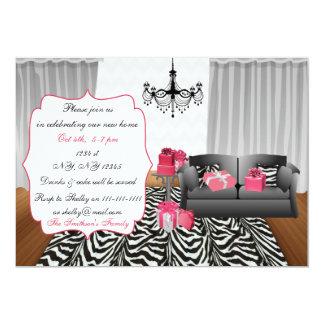 ピンクのソファーの引っ越し祝いパーティーのパーティの招待状 カード