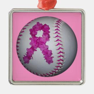 ピンクのソフトボールおよび認識度の花のリボン メタルオーナメント