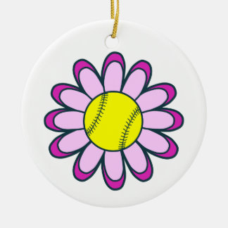 ピンクのソフトボールの女の子 セラミックオーナメント