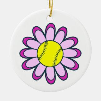ピンクのソフトボールの女の子 陶器製丸型オーナメント