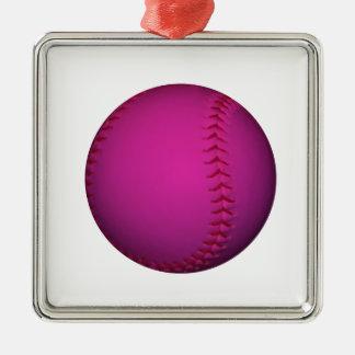 ピンクのソフトボール シルバーカラー正方形オーナメント