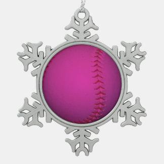 ピンクのソフトボール ピューター製スノーフレークオーナメント