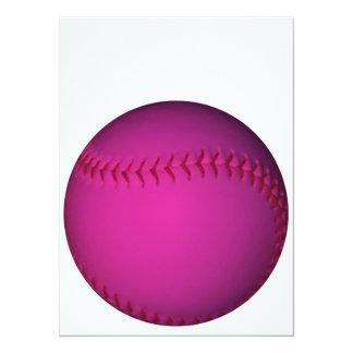 ピンクのソフトボール 14 X 19.1 インビテーションカード
