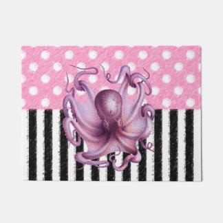 ピンクのタコパターン ドアマット