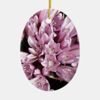 ピンクのタマネギの花 セラミックオーナメント