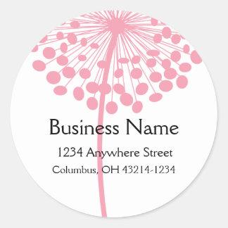 ピンクのタンポポの花の円形の宛名ラベル ラウンドシール