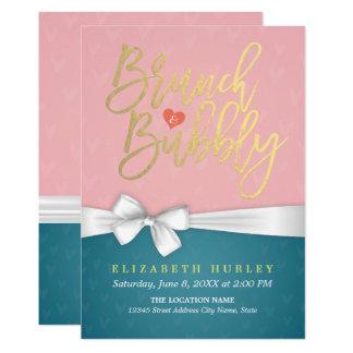 ピンクのターコイズのブランチの快活なブライダルシャワーの招待 カード