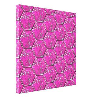 ピンクのターコイズの六角形のタイル キャンバスプリント