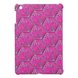 ピンクのターコイズの六角形のタイル iPad MINIケース