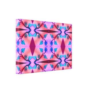 ピンクのターコイズの花の抽象芸術 キャンバスプリント