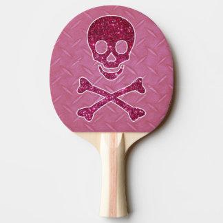 ピンクのダイヤモンドのプレートおよびスカルのかい 卓球ラケット