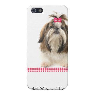 ピンクのダイヤモンドのボーダーのピンクの弓を持つシーズー(犬) Tsu iPhone 5 カバー