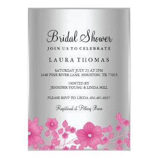 ピンクのダイヤモンドの花のブライダルシャワーの招待 カード