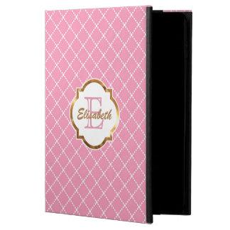 ピンクのダイヤモンドパターン、名前入りな模造のな金ゴールドホイル POWIS iPad AIR 2 ケース