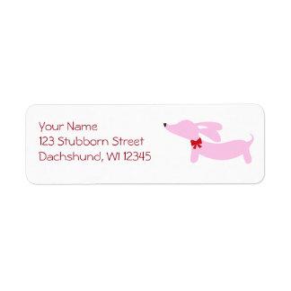 ピンクのダックスフントのピンクの弓差出人住所ラベル ラベル