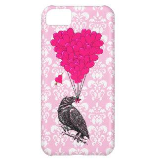 ピンクのダマスク織のカラスそしてハート iPhone5Cケース