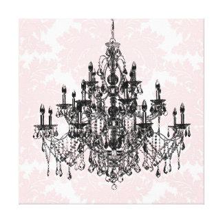 ピンクのダマスク織のシャンデリアのキャンバスの壁の芸術 キャンバスプリント
