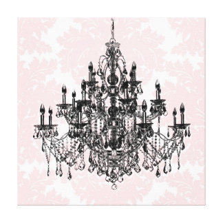 ピンクのダマスク織のシャンデリアのキャンバスの芸術 キャンバスプリント