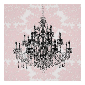ピンクのダマスク織のシャンデリアの壁の芸術のプリント ポスター