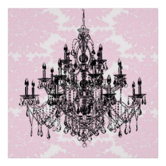 ピンクのダマスク織のシャンデリアの芸術 ポスター