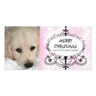 ピンクのダマスク織のシャンデリア犬のクリスマスの写真カード カード